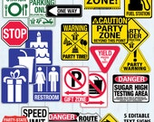 Party Traffic Signs - Construction Party Signs- Race Car Party Signs  - Instant Download PDF 24 Printable Signs