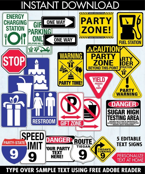 race car party traffic signs construction party cars party