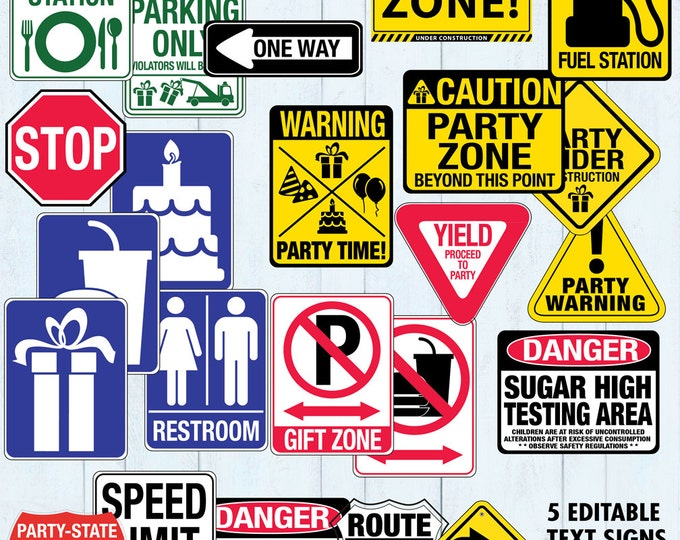 Race Car Party Traffic Signs - Construction Party, Cars Party, Birthday Signs | INSTANT Download PDF 24 Printable Signs