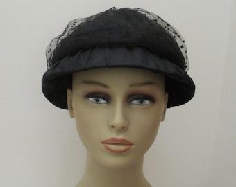 Vintage Black Clouche Hat with Net Crown