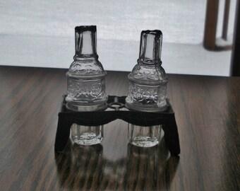 Vintage Miniature Bottles in Embossed Metal Rack