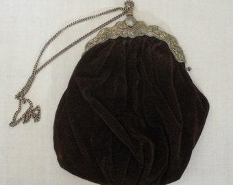 Vintage Victorian Style Brown Velvet Bag - Carpetbags of America