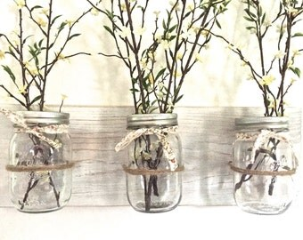Mason jar wall decor, hanging wall vases, kitchen storage, wall vase, triple wall vase, farmhouse decor, rustic wall decor, reclaimed wood