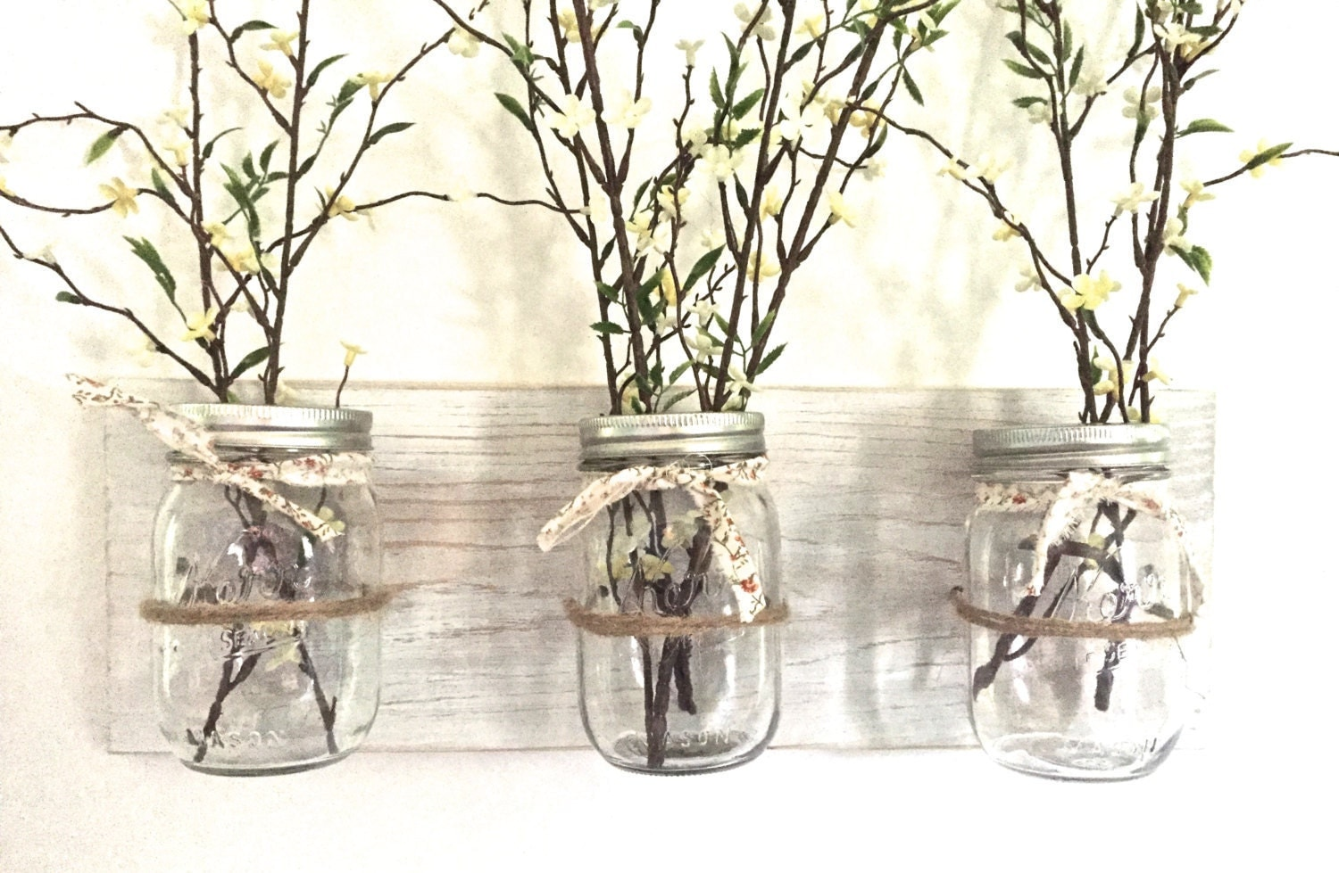 Wall Decor With Mason Jars : Mason jar wall decor hanging vases kitchen storage