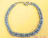 Vintage 1950s Necklace , 50s Blue Pearl and AB Crystal Bead Necklace or Choker - on sale
