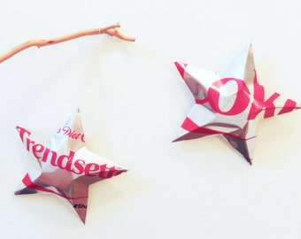 Trendsetter Diet Coke Stars Christmas Ornaments  Soda Can Upcycled Coca Cola, Silver Red
