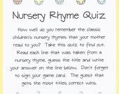 Nursery Rhyme Quiz - Baby Shower Game - Do You Remember? - Onesie Baby Shower Theme