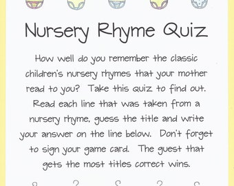 Nursery Rhyme Quiz Baby Shower Game   Name The Nursery Rhyme Baby Shower  Game, Nursery