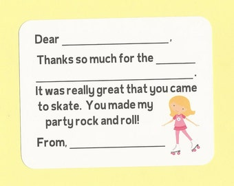 Roller Skating Party Thank You Cards - Fill in the Blank Thank Yous - Birthday Fun for Skater Girls
