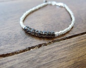 Smokey Topaz Bracelet with Glass Seed Beads and Sterling Silver