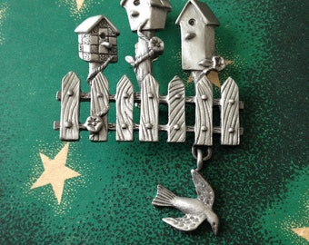 Pewter Bird House Brooch SPOONT Fence Dangling Bird