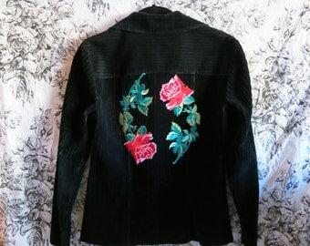 Rose Jacket / Corduroy Jacket / Patch Black Jacket Size Small S XS