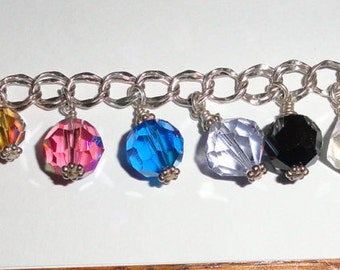 Sterling Silver Charm Bracelet with Wire wrapped Multi Color Swarovski Crystals about 7 1/2' adjustable