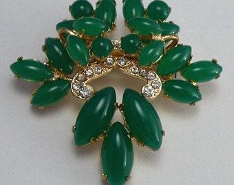 Vintage Jade Glass Rhinestone Tiered Brooch Pin Green