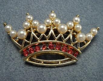 Vintage Crown Brooch Red Rhinestones & Pearl Pin