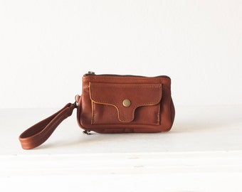 Brown leather wallet with strap, wristlet phone wallet clutch wallet case wristlet phone wallet - Thalia Wallet