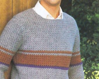 Vintage Crochet Pattern, Men's Sweater