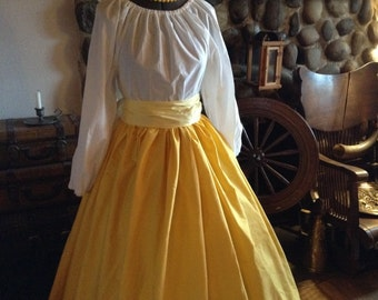 Civil War Pioneer Colonial Yellow and White Print Skirt Blouse and Sash Ready to Ship