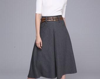 Winter wool skirt maxi skirt gray wool skirt (1383)