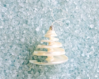 Beach Christmas Ornament - Spiral Cut Troca Shell - Coastal Christmas