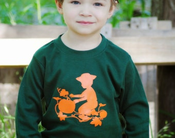 Pumpkin Patch Long Sleeved Crew Shirt by Nostalgic Graphic Tees - Forest with Orange