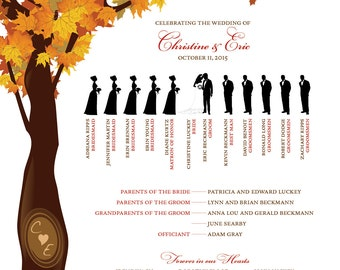 Fall Wedding Poster Program -  Brown and Orange - Tree Fall Leaves - Wedding Decoration