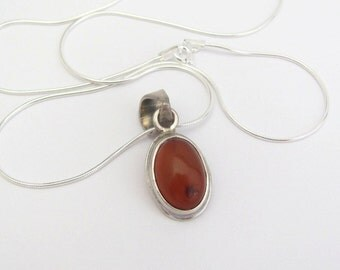 Vintage Amber Necklace, Amber Silver Pendant, Sterling Silver Pendant Necklace, Silver Snake Chain 925 Dainty Oval, Gift for Her