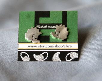 8mm Handmade Sterling Silver Hedgehog Post Earrings