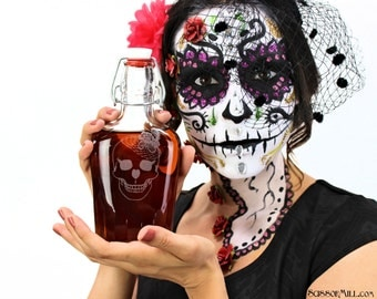 Day of the Dead,Flask,Sugar Skull,Wine Glass,Pint Glass,Halloween Skull Skeleton, Drinking Glasses,Personalized Flask,or Stemless Wine Glass