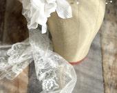 White flower headband, vintage wedding hair crown, millinery headpiece, pearl crown, bridal fascinator, hair accessories