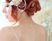 Bridal hair clip, vintage flower clips, dusty gray floral clips, art nouveau clip set, wedding headpiece, hair accessories