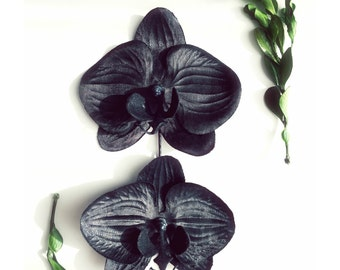 Black flower clips, orchid hair clips, halloween bobby pins, floral hair pins, hair accessories