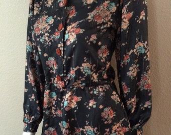 Vintage Women's 70's Dress, Polyester, Black, Floral, Printed, Long Sleeve (S)