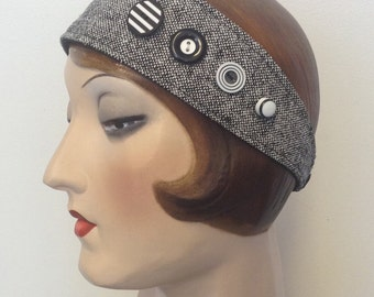 Silk tweed fabric head band with buttons. Free shipping in the US