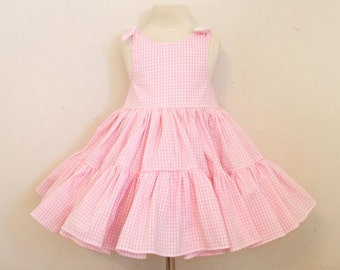 Pretty Pink Gingham Two Tiered Twirly Sundress Square Dance Dress with Tie Shoulders.  Baby, Infant, Toddler Girls, Available in 9 colors