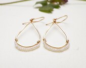 Tiny Freshwater Pearl Rustic Boho Bride Drop Earrings, white pearl chandelier earrings, gold filled rustic simple minimalist wedding jewelry