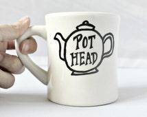 Funny Mug, tea mug, tea cup, diner mug, black white, hand painted, tea pot, pot head, ceramic mug, unique mug, gag gift, novelty mug