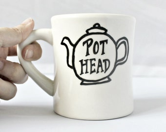 Funny Mug, tea mug, tea cup, diner mug, black white, hand painted, tea pot, pot head, ceramic mug, unique mug, gag gift, novelty mug