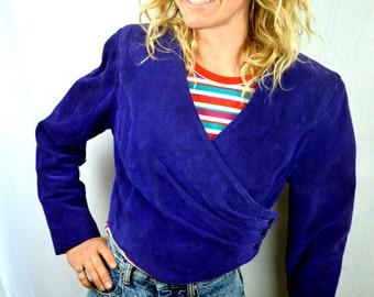 Vintage 80s Purple Suede Cropped Jacket - by Phoenix
