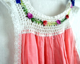 Beautiful Girls Hippie Gauzy Crochet Cotton Lace Floral Summer Dress