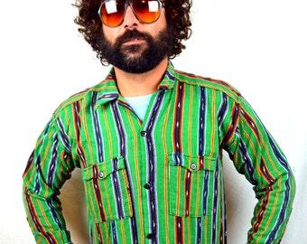 Vintage Guatemalan Hippie Button Up Ikat Shirt Top
