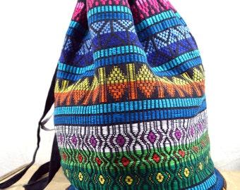 Vintage Woven Guatemalan Rainbow Fabric Tote Bag Backpack Rucksack