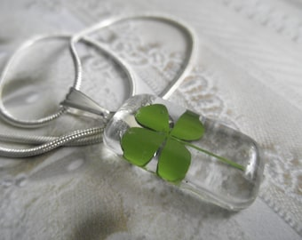 Lucky 4 Leaf Clover-Glass Rectangle Pendant-Symbolizes Love, Luck, Hope, Faith-Nature's Wearable Art-Gifts Under 30