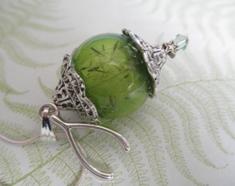 Dandelion Seed Green Glass Orb Reliquary Terrarium Pendant w/Oxidized End Caps-Wishbone Charm-Symbol of Happiness-Gifts For 35