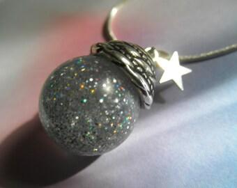 Starry, Starry Night-Micro Hologram Glitter, Star Charm Resin Orb Sphere Reliquary Pendant-Celestial Inspired-Stargazer Gifts Under 30