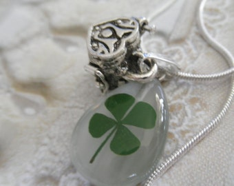 Real 4 Leaf Clover 3 In 1 Necklace-Pendant w/Wish-Prayer Heart Shaped Box Charm-Gifts Under 30-Rare Find-Symbolizes Luck, Love, Hope, Faith
