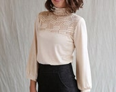 Mason Top, Heather Almond, Turtleneck, Bamboo Jersey- made to order