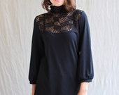 Mason Top, Black, Turtleneck, Bamboo Jersey- made to order