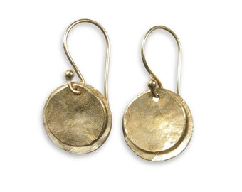 Rustic Gold Round Layered Earrings - Two Suns Earrings - Ancient Bronze - Free Shipping