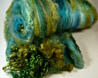 Gathering Moss Wild Card Bling Batt for spinning and felting (4.5 ounces), batt, art batt
